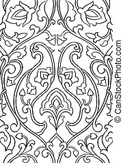Floral ornament for wallpaper. - Black and white floral...
