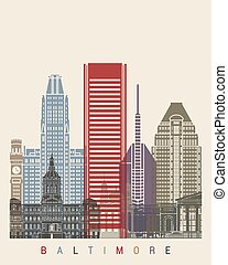 Baltimore skyline poster in editable vector file