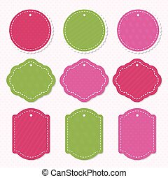 Holidays labels template set with different color isolated on heart background use for Valentine's day, Merry Christmas, Happy Birthday and other. Decoration element. Vector Illustration
