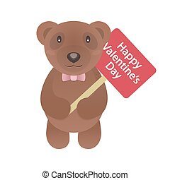 Valentine bear with signboard and congratulation Happy Valentine's day isolated on white background for use greeting card, stamps, label, posters and romantic quote. Vector Illustration