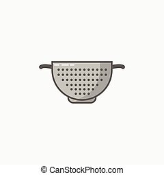 An icon for colander in flat style on grey background....