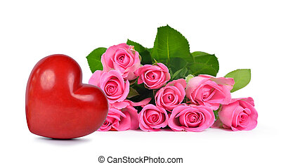 Bouquet of pink roses and heart isolated on white...