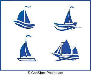 Stock Vector Icons boat at sea - Stock Vtravel by sea or...