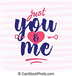 Valentine's day greeting card on heart background with cute...