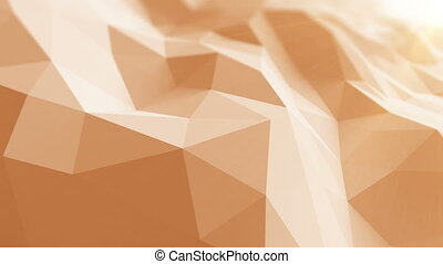 Beautiful Low Poly Surface Waving in Abstract 3d Animation with the Sun Rays. Seamless Background
