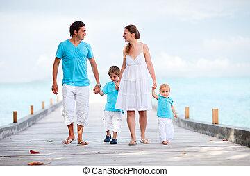 步行, 向前, 家庭, 防波堤