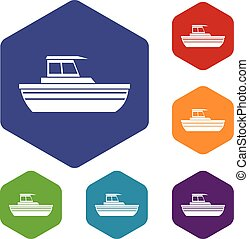 Motor boat icons set