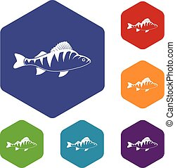 Fish icons set rhombus in different colors isolated on white...