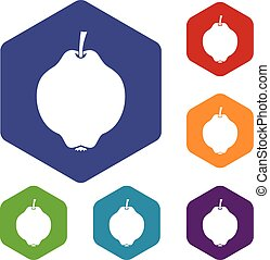 Quince fruit icons set rhombus in different colors isolated...