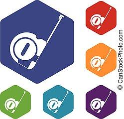 Roulette construction icons set