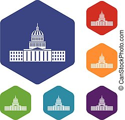 Capitol icons set rhombus in different colors isolated on...
