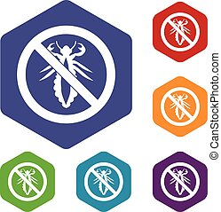 No louse sign icons set rhombus in different colors isolated...