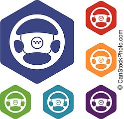 Steering wheel of taxi icons set