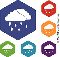 Clouds and hail icons set rhombus in different colors...