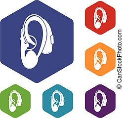Hearing aid icons set