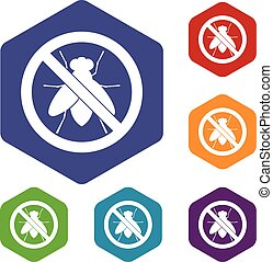 No fly sign icons set rhombus in different colors isolated...