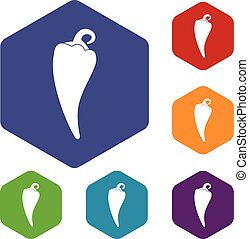 Hot chili pepper icons set rhombus in different colors...
