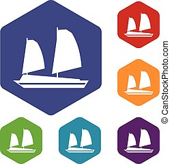 Vietnamese junk boat icons set rhombus in different colors...