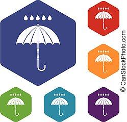 Umbrella and rain drops icons set rhombus in different...