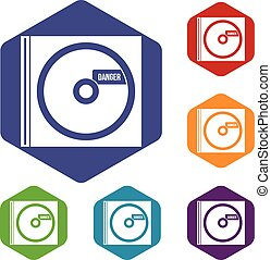 CD with danger lettering icons set rhombus in different...