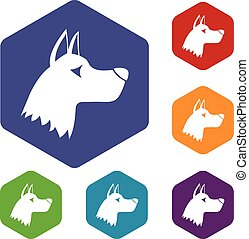 Doberman dog icons set rhombus in different colors isolated...