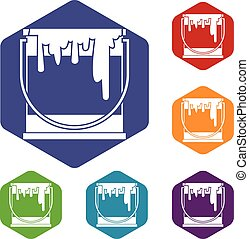 Paint can icons set rhombus in different colors isolated on...