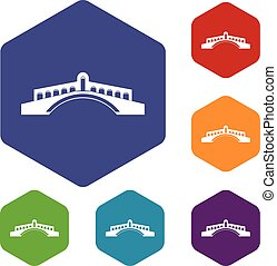 Bridge icons set rhombus in different colors isolated on...