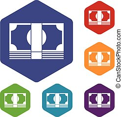 Swiss Franc banknote icons set rhombus in different colors...