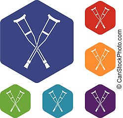 Crutches icons set rhombus in different colors isolated on...