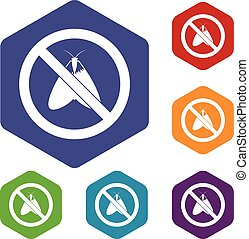 No moth sign icons set rhombus in different colors isolated...