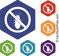 No termite sign icons set rhombus in different colors...