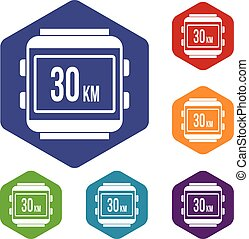 Speedometer bike icons set rhombus in different colors...