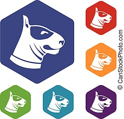 Bull terrier dog icons set rhombus in different colors...
