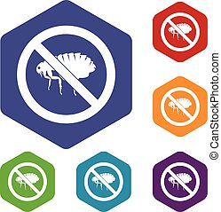No flea sign icons set rhombus in different colors isolated...