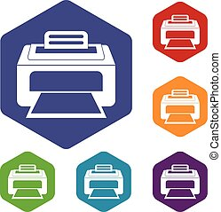 Modern laser printer icons set rhombus in different colors...