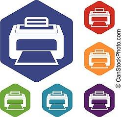 Modern laser printer icons set