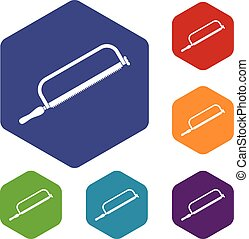 Hacksaw icons set rhombus in different colors isolated on...