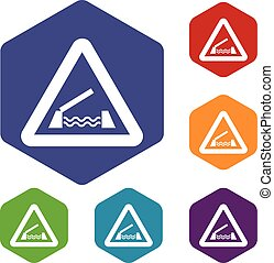 Lifting bridge warning sign icons set rhombus in different...