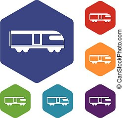 Swiss mountain train icons set rhombus in different colors...