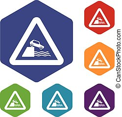 Riverbank traffic sign icons set rhombus in different colors...