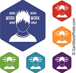 Man and work words icons set