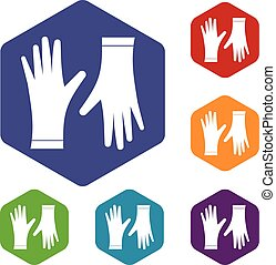 Protective gloves icons set rhombus in different colors...