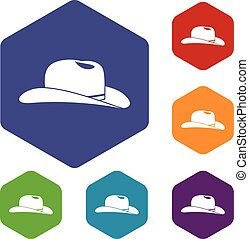 Cowboy hat icons set rhombus in different colors isolated on...