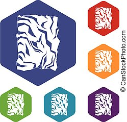 Crumpled paper icons set rhombus in different colors...