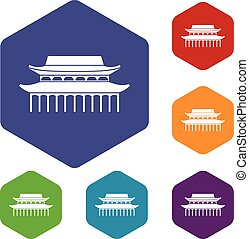 Buddha Toothe Relic Temple in Singapore icons set rhombus in...