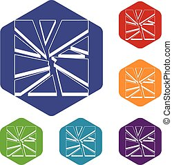 Broken glass icons set rhombus in different colors isolated...