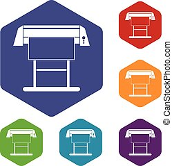 Large format inkjet printer icons set rhombus in different...