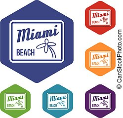 Miami beach icons set rhombus in different colors isolated...
