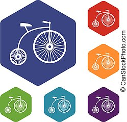 Penny-farthing icons set rhombus in different colors...