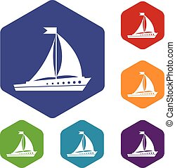 Sailing ship icons set rhombus in different colors isolated...